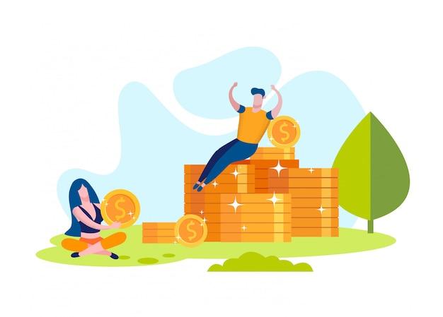 Женщина и мужчина радуются заработанным деньгам. монеты на траве
