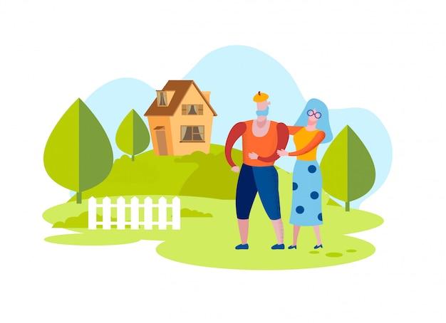 高齢男性と女性の背景の家と庭。