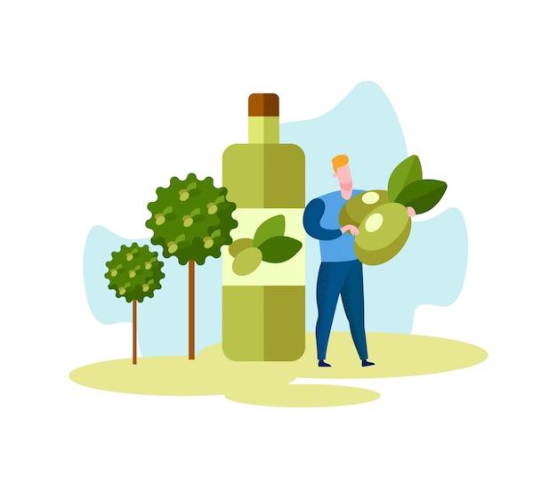 Человек с оливками. оливковые деревья и бутылка с маслом.