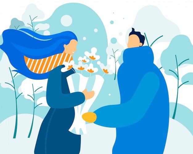 愛のカップルのための冬の花束。
