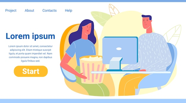 男と女のコンピューターのランディングページで自宅で映画を見て