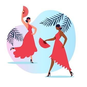 Традиционный испанский танец с плоским иллюстрация