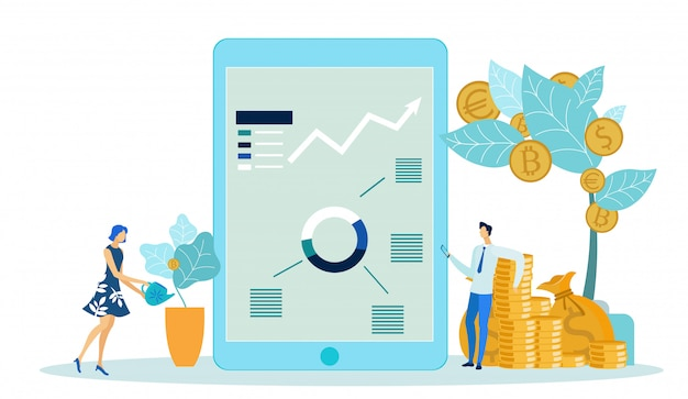 Рост доходов, развитие бизнеса, денежное дерево.