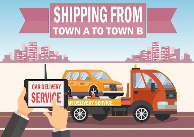 Служба доставки автомобилей. векторная иллюстрация плоский.
