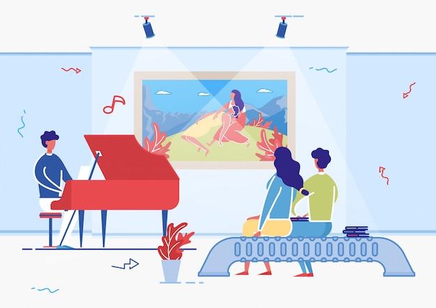 Художник играет на фортепиано в зале художественной галереи, посетитель.