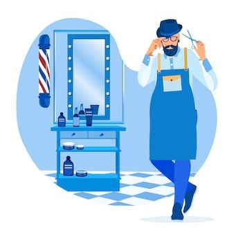 ひげと口ひげのエプロン付きヒップスター理容室