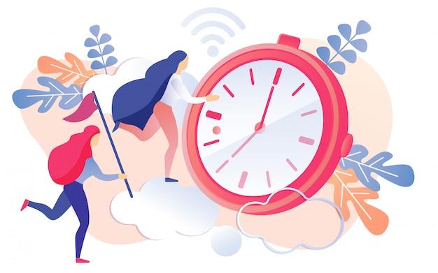 Мультфильм женщина работает на красный таймер часы вектор
