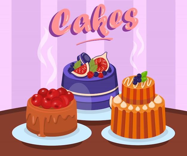 Различные вкусные торты с плоским векторная иллюстрация