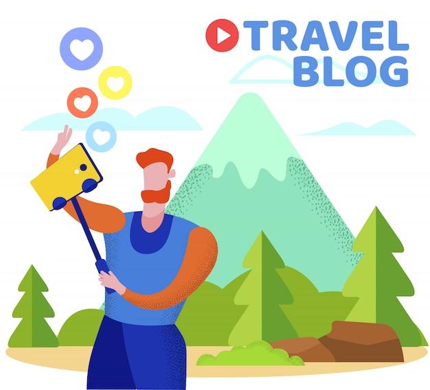 Человек, путешествующий блоггером, делает селфи в горах