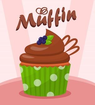 果実のベクトル図とチョコレートのカップケーキ