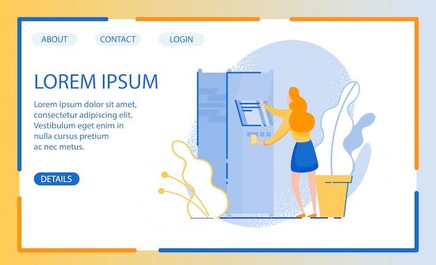 現金が必要な女性のイラストを使用したウェブサイトのデザイン、自動端末に目を向ける
