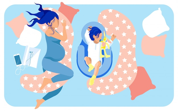 大きなベッドで寝ている将来の母親と赤ちゃん