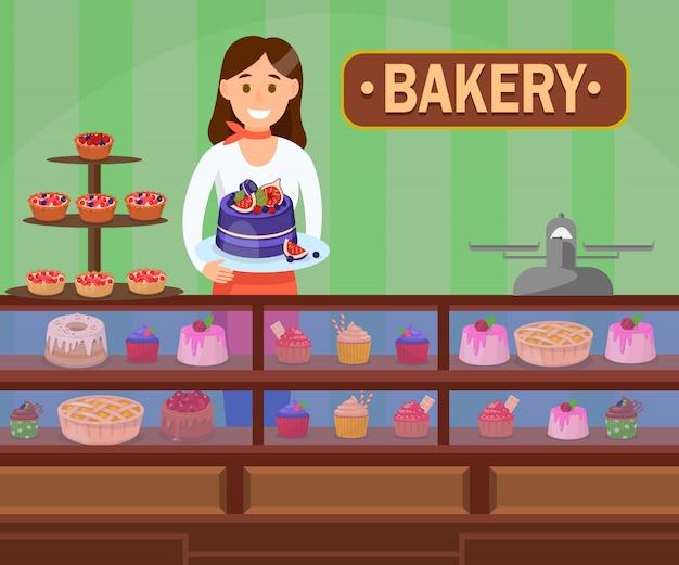 Кондитер с пирожными плоский векторная иллюстрация