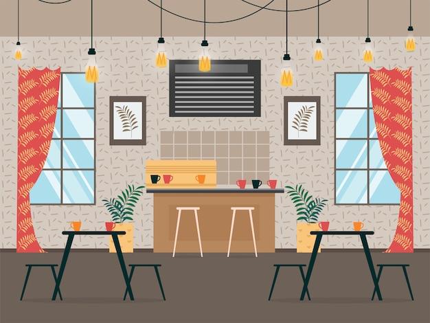 Иллюстрация современного кафа интерьера шаржа.