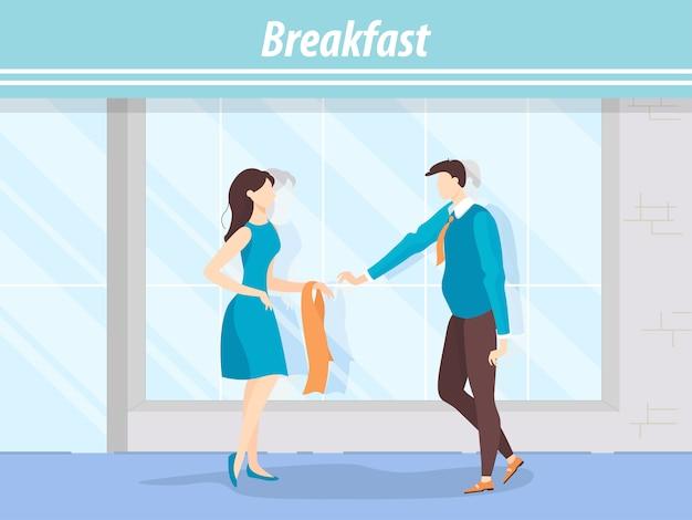 Встреча двух друзей в открытом кафе на завтрак.