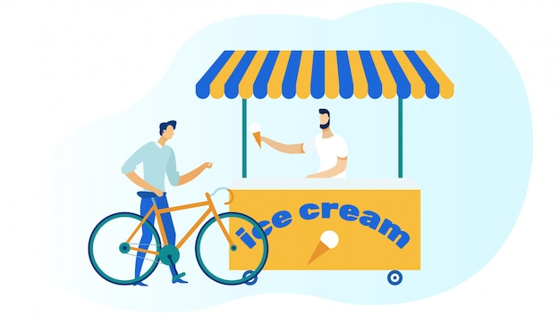 Велосипедист покупка мороженого иллюстрация