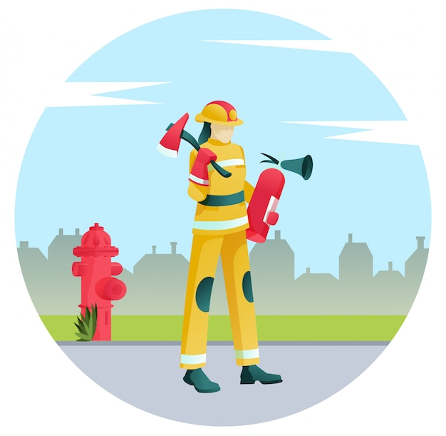 Пожарный в форме с противопожарным оборудованием