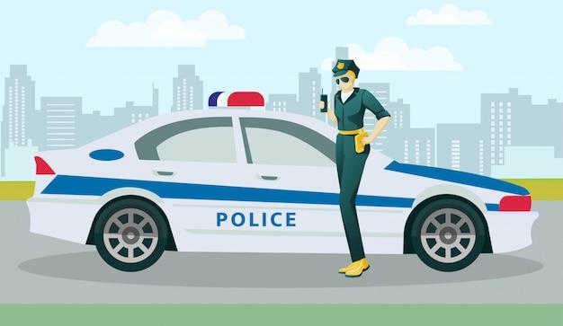 路上の警察官の女性キャラクターとパトカー