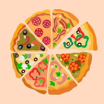 Ассорти пицца ломтики цветная иллюстрация