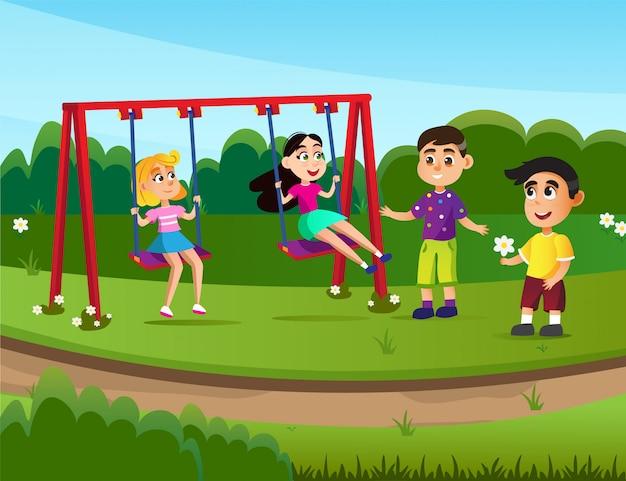 Летний спортивный лагерь для детей, детская площадка.