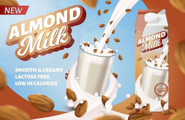 包装用のアーモンドミルクの水平ラベル。栄養強化ダイエットドリンク