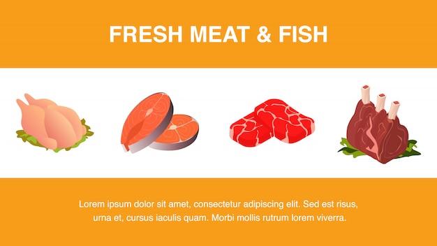 新鮮な肉と魚の現実的なテンプレート