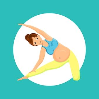 Беременная женщина делает позу йоги