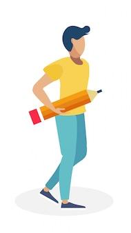 Молодой человек с большой иллюстрацией карандаша