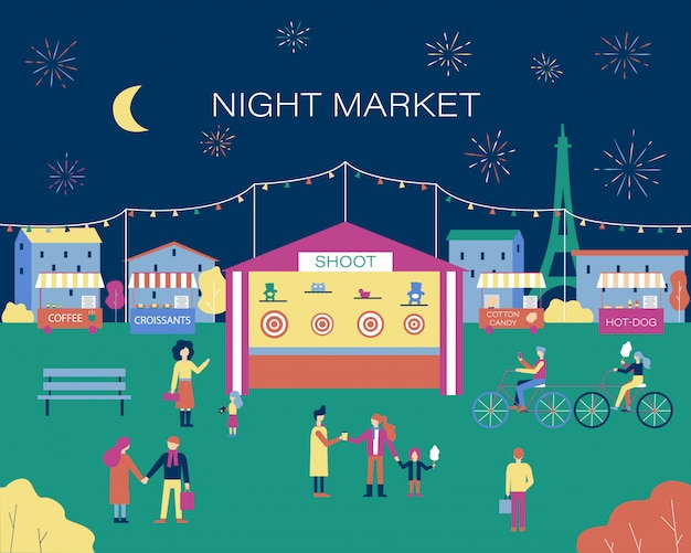 Люди, идущие на ночной рынок, тир