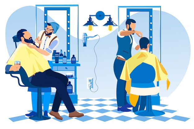 理髪店で理髪店のクライアントのひげと髪をスタイリング