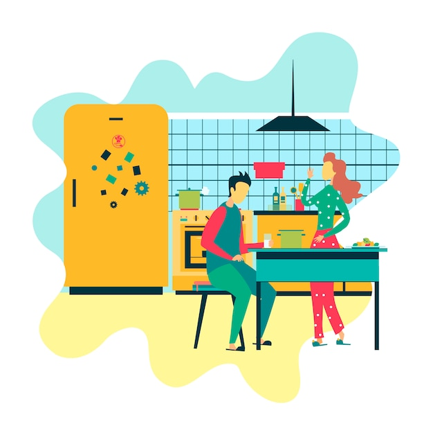 Жена и муж в дизайне кухонного образа жизни