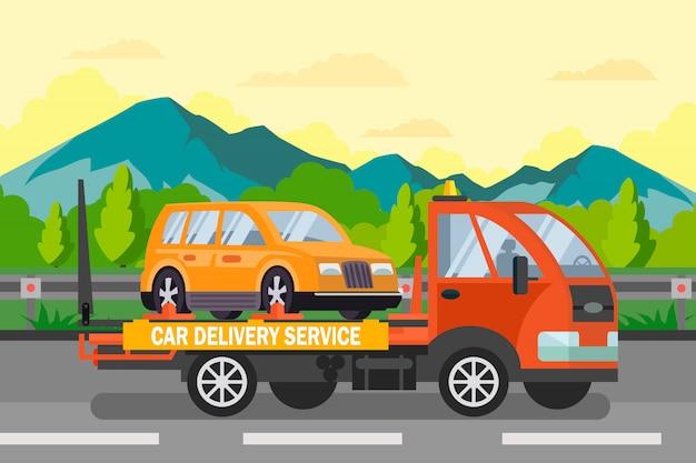 Служба доставки автомобилей с плоским цветная иллюстрация