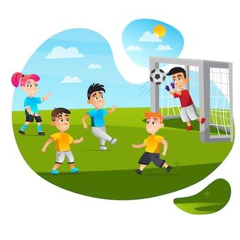 Мальчик вратарь сохранить цель поймать мяч футбольный матч