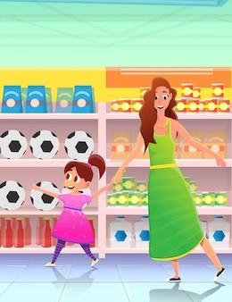 ストアで買い物をする女性をリードする女の子。