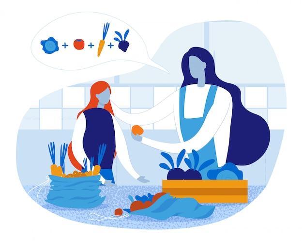 Счастливая мать и дочь готовить в домашней кухне