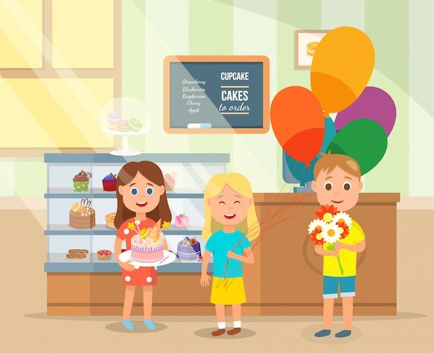 Маленькие друзья покупают сладкий подарок в пекарне