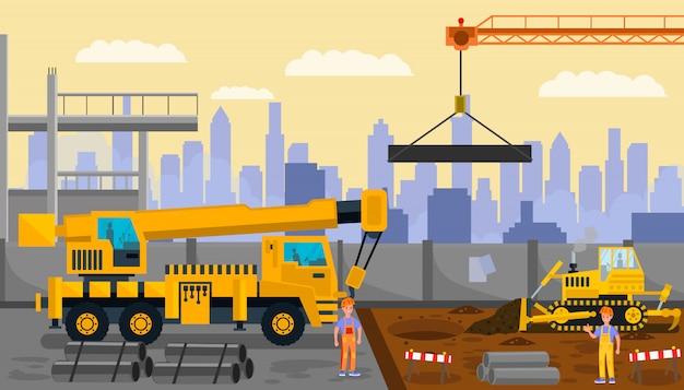 Строительная площадка, иллюстрация строительного процесса