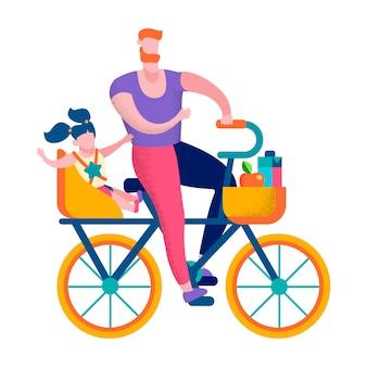 Счастливая семья на велосипеде активный отдых