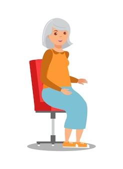 椅子のイラストに座っている年配の女性