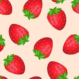 新鮮な赤いイチゴ漫画のシームレスパターン