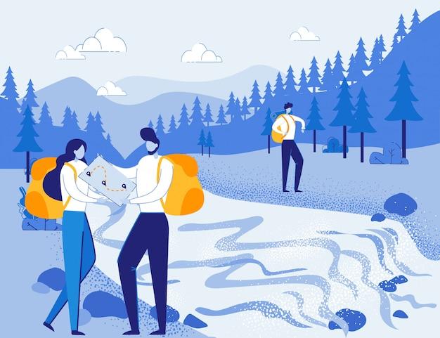 Туристы-исследователи прокладывают маршрут в лесу с гидом