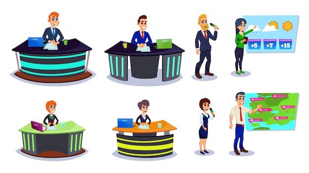 Набор персонажей мультфильма мужчина женщина вещания
