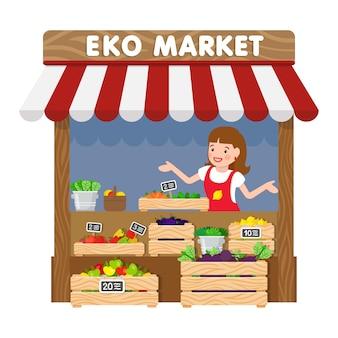 Эко маркет, продуктовый киоск с плоским векторная иллюстрация