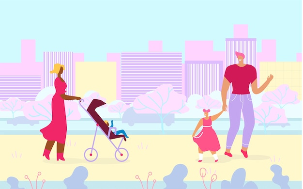 Разнообразные многорасовые люди гуляют в городском парке