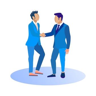 ビジネススーツの男性が手を振る。