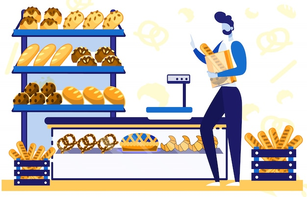 カウンターの後ろに焼きたてのパンが並ぶベーカリーショップ。