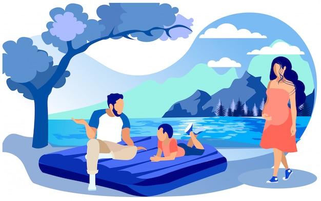 家族、一緒に時間を過ごすエアマットレスに座っています。
