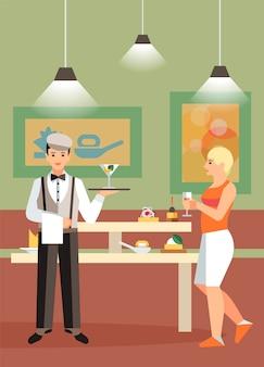 ホテルビュッフェ、レストランフラットベクトルイラスト