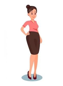 フォーマルな服のイラストで中年の女性