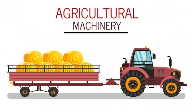 Сельскохозяйственная техника плоский векторная иллюстрация